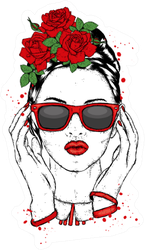 Fashion & Style With Roses Sticker
