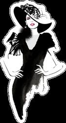 Fashion Woman Model With A Black Hat Sticker