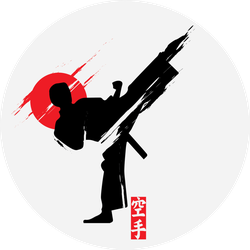 Fast Kick Fighting Technique Silhouette Sticker