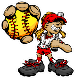 Fast Pitch Softball Girl Cartoon Player Sticker