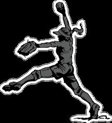 Fastpitch Softball Player Pitching Sticker