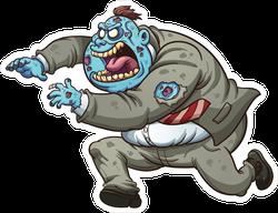 Fat Cartoon Zombie In Suit Sticker