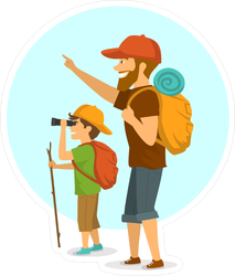 Father And Son Camping Sticker