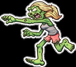 Female Cartoon Running Zombie Sticker