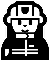 Female Firefighter Character Icon Sticker