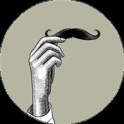 female Hand Holding A Male Mustache Sticker