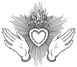 Female Open Hands Around Sacred Heart Of Jesus Sticker