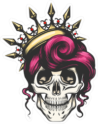 Female Skull With A Crown And Long Hair Sticker