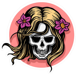 Female Skull With Hair And Flowers Sticker