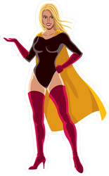 Female Superhero Presenting Sticker