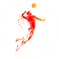 Female Volleyball Player Fire Sticker