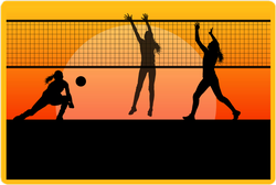 Female Volleyball Players At Sunset Sticker