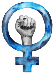 Feminism Watercolor Symbol Hand In Blue Sticker