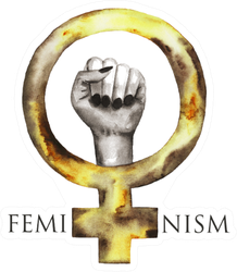 Feminism Watercolor Symbol Icon Hand In Yellow With Text Sticker