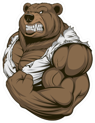 Ferocious Athletic Bear Flexing Sticker