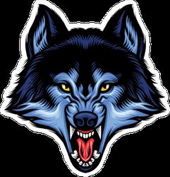 Ferocious Blue Wolf Mascot Sticker