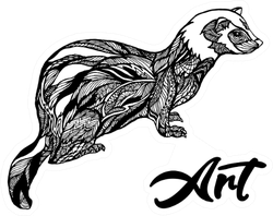 Ferret Art Zentangle Design Sticker