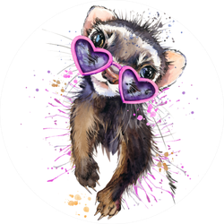 Ferret Watercolor Illustration In Sunglasses Sticker