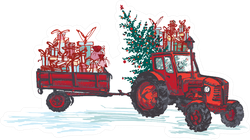 Festive New Year Red Tractor With Fir Tree Illustration Sticker