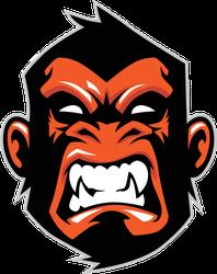 Fierce Monkey Head Sports Mascot Sticker
