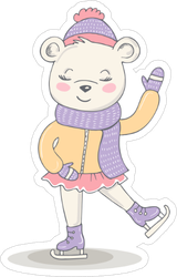 Figure Skater Girl Bear Sticker