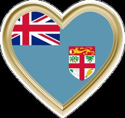 Fiji Flag In Golden Heart Sticker