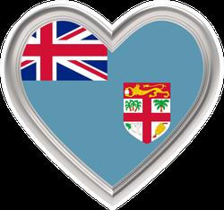 Fiji Flag In Silver Heart Sticker