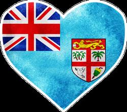 Fiji Flag Watercolor Heart Sticker