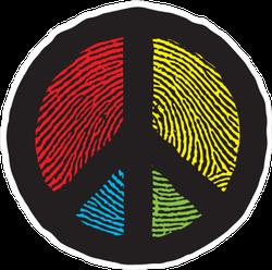 Finger Print Peace Sign Sticker