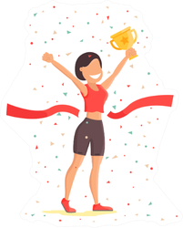 Finish Line Woman Athletic Sportswoman Sticker