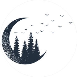 Fir Trees With The Moon Sticker