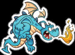 Fire Breathing Blue Dragon Cartoon Sticker