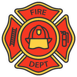 Fire Department Badge Color Icon Sticker