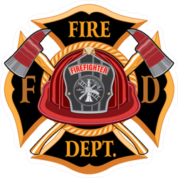 Fire Department Cross Vintage Design Sticker