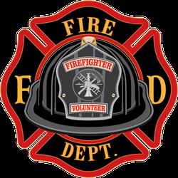 Fire Department Cross Volunteer Black Helmet Sticker