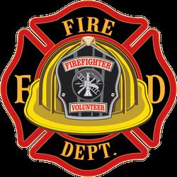 Fire Department Cross Volunteer Yellow Helmet Sticker