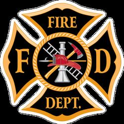 Fire Department FD Maltese Cross Symbol Sticker