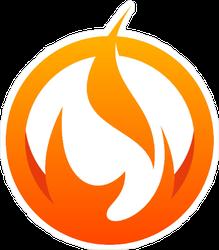 Fire Logo in Circle Sticker
