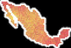 Fire Pixel Mexico Map Sticker