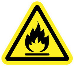 Fire Warning Sign In Yellow Triangle Sticker