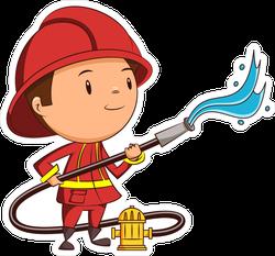 Firefighter Boy With Hose Sticker