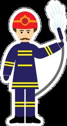 Firefighter Cartoon Sticker