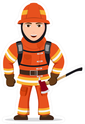 Firefighter Character With Axe Sticker