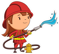 Firefighter Girl With Hose Sticker
