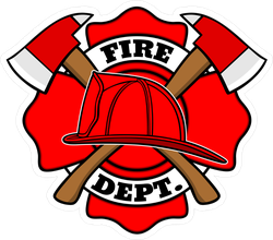 Firefighter Hat And Axe Sticker