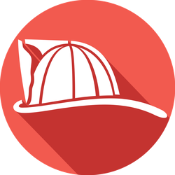 Firefighter Helmet Flat Icon Sticker