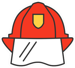 Firefighter Helmet Icon Sticker