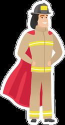 Firefighter In Red Superhero Cape Sticker