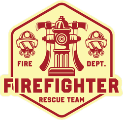 Firefighter Rescue Team Logo Badge Sticker