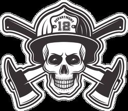 Firefighter Skull In Helmet Sticker